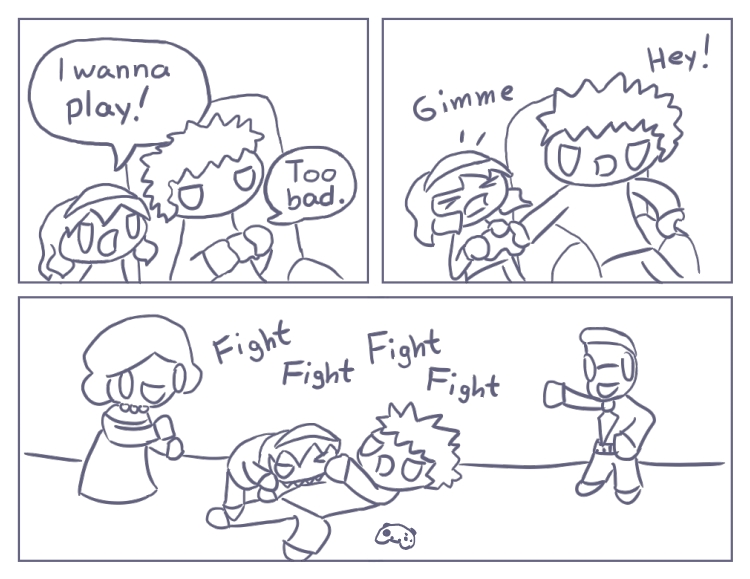 The part of this comic where a little girl bites her older brother in the arm is totally not autobiographical by any means. Not at all!