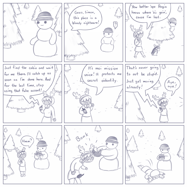 Panels 2 and 3 sadly debunk the theory that Simon has an army of talking trees.